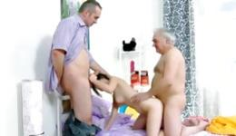 Amazing threesome performed by old granddad, charming brunette and her bf