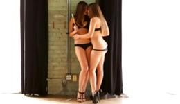 Two hotie babes are making out eating a slutty candy and fucking rough