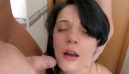 Brunette hottie in the bathroom is getting her genitals screwed wildly
