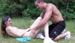 Sweet brunette is getting seduced for some hardcore outdoors fucking