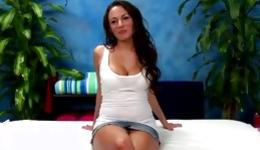 Brunette sweetheart stripped her body to get her oily flexible body massaged