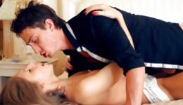 Charming floozy gives her boyfriend fierce delight with her caresses and movements