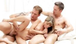 This shameless babe always dreamed about rough gangbang with two guys